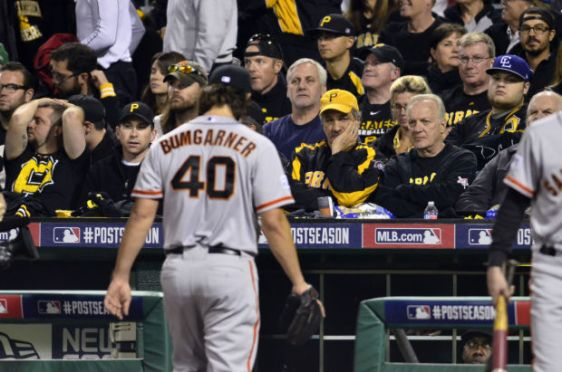 Fans dejected after Pirates get shutout 8-0 by Madison Bumgarner and the Giants in the 2014 N.L. Wild Card game.