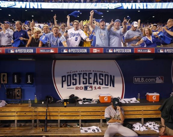 Royals fans celebrate after knocking off the Athletics in the 2014 A.L. Wild Card Game with a late-ininng comeback.